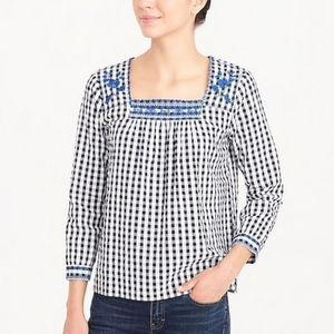 J. Crew gingham blouse with blue embroidery